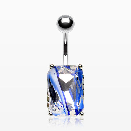 Radiant Marble Swirl Glass Belly Button Ring-Blue