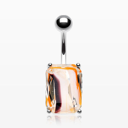 Radiant Marble Swirl Glass Belly Button Ring-Orange