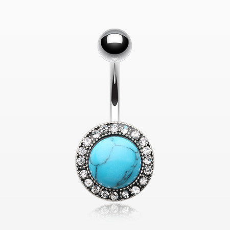 Turquoise Karma Circle Sparkle Loop Belly Button Ring-Turquoise