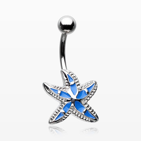 Ocean Blue Starfish Belly Button Ring-Blue