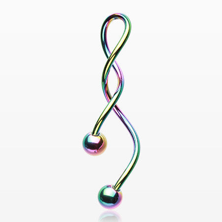 Colorline Steel Twister Spiral Belly Button Ring-Rainbow