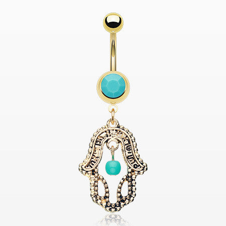 Golden Turquoise Hamsa Belly Button Ring-Turquoise
