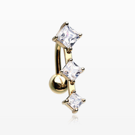 14 Karat Gold Triple Diamante Reverse Belly Button Ring-Clear