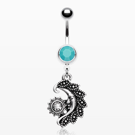 Vintage Tribal Sun & Moon Belly Button Ring-Turquoise