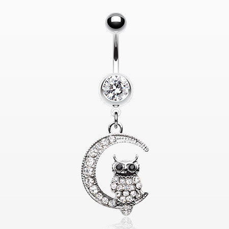 Sparkling Midnight Owl on Moon Belly Button Ring-Clear