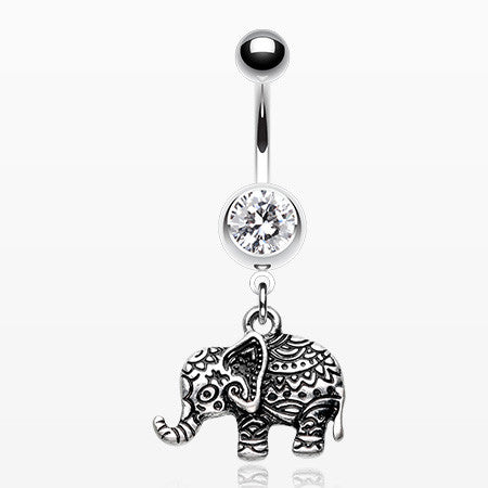 Henna Elephant Belly Button Ring-Clear