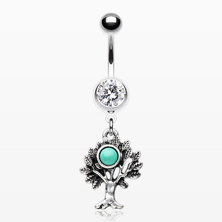 Tree of Life Turquoise Belly Button Ring-Clear