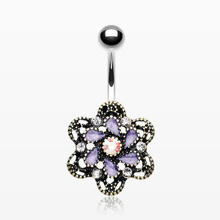 Vintage Camelia Filigree Belly Button Ring-Tanzanite