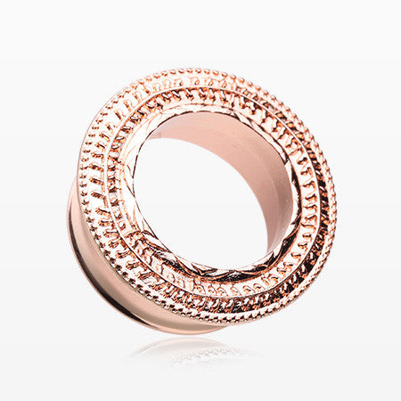 A Pair of Rose Gold Entice Filigree Ear Gauge Tunnel Plug-Rose Gold