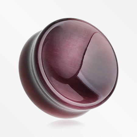 A Pair Of Purple Cat-Eye Concave Stone Double Flared Plug