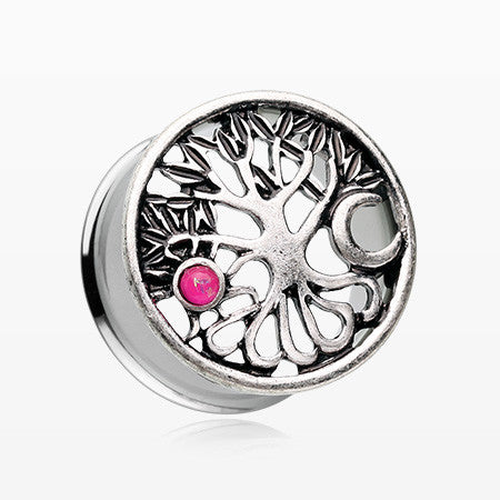 A Pair of The Tree of Life Sun & Moon Opalescent Ear Gauge Plug-Pink/Fuchsia