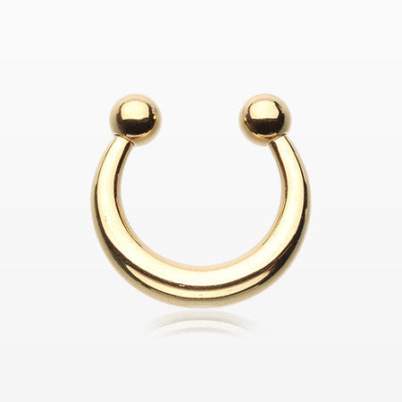 Golden Basic Fake Septum Horseshoe-Gold