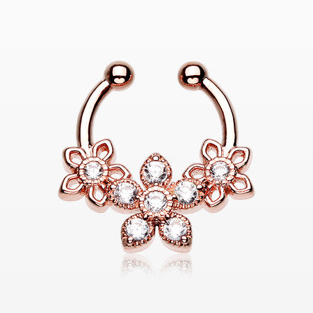 Rose Gold Triple Flower Sparkle Fake Septum Clip-On Ring-Clear