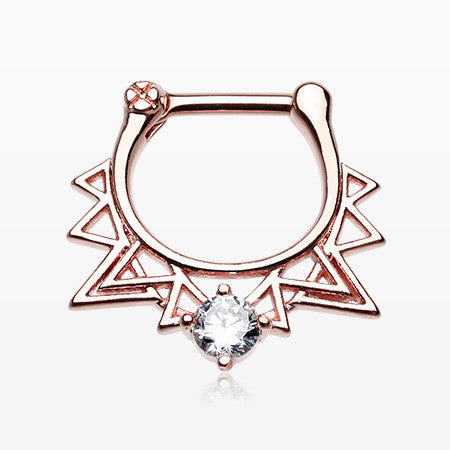 Rose Gold Retro Spike Triangle Sparkle Septum Clicker-Clear