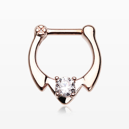 Rose Gold Fierce Hawk Sparkle Septum Clicker-Clear
