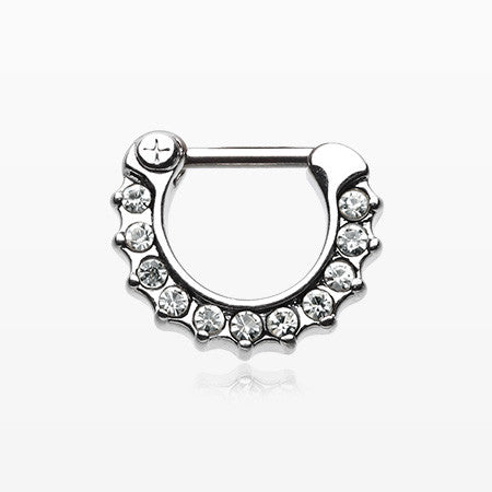 Sparkle Loop Multi-Gem Septum Clicker-Clear