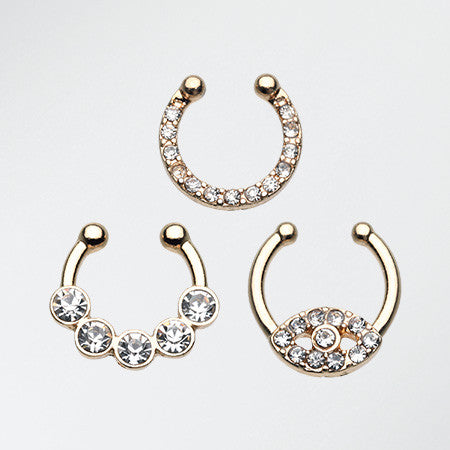 3 Pcs of Golden Sparkle Fake Septum Value Pack-Gold