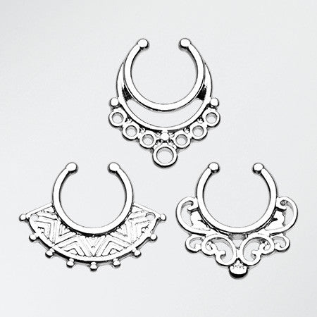 3 Pcs of Classic Ornate Fake Septum Value Pack-Steel