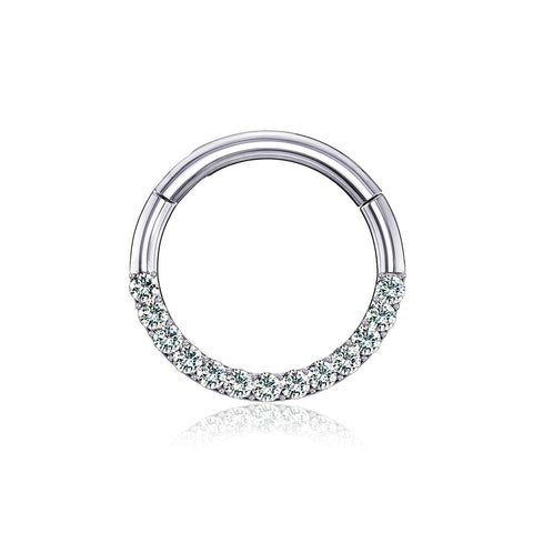 14 Karat White Gold Brilliant Sparkle Gems Front Lined Clicker Hoop Ring-Clear