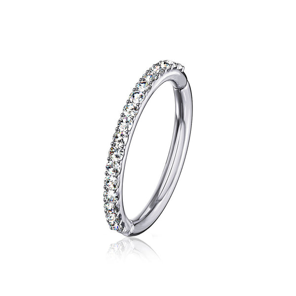 14 Karat White Gold Brilliant Sparkle Gems Lined Clicker Hoop Ring-Clear