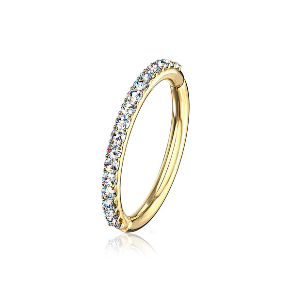 14 Karat Gold Brilliant Sparkle Gems Lined Clicker Hoop Ring-Clear