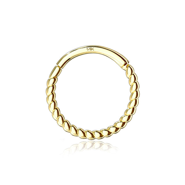 14 Karat Gold Classic Rope Clicker Hoop Ring