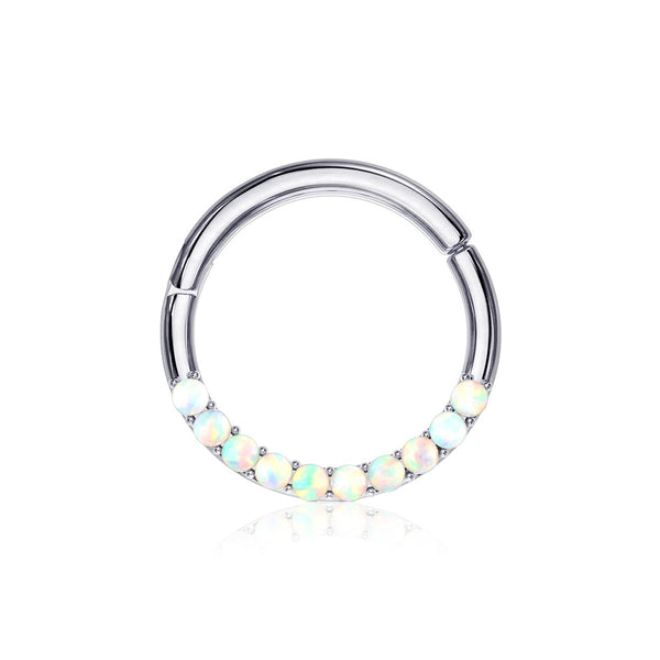 14 Karat White Gold Fire Opal Sparkle Front Lined Clicker Hoop Ring-White Opal