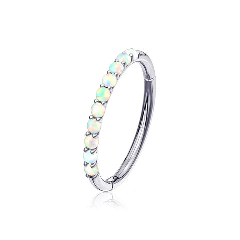 14 Karat White Gold Fire Opal Sparkle Lined Clicker Hoop Ring-White Opal