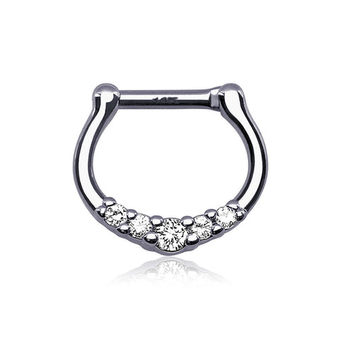 14 Karat White Gold Dainty Sparkles Clicker Ring-Clear