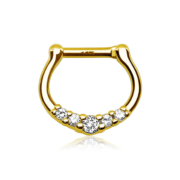 14 Karat Gold Dainty Sparkles Clicker Ring-Clear