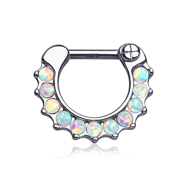14 Karat White Gold Fire Opal Sparkle Loop Clicker Ring-White Opal