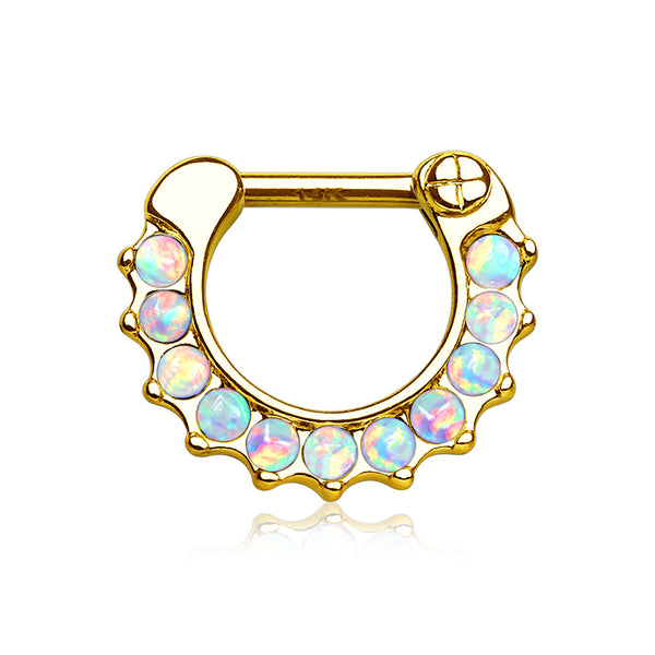 14 Karat Gold Fire Opal Sparkle Loop Clicker Ring-White Opal