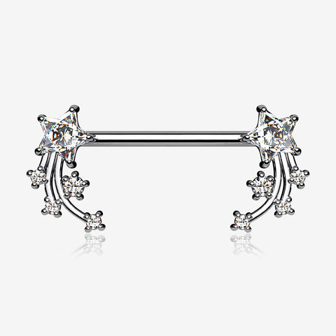 A Pair of Shooting Star Sparkles Nipple Barbell-Clear