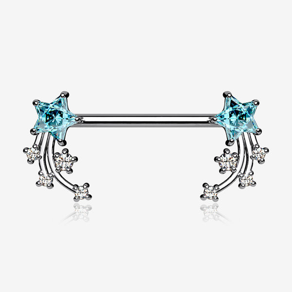 A Pair of Shooting Star Sparkles Nipple Barbell-Aqua