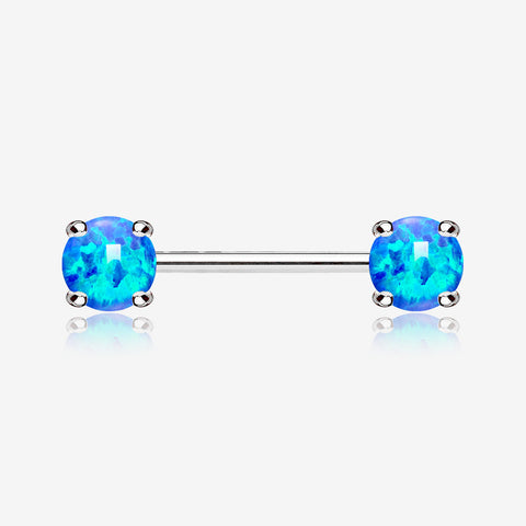 A Pair of Fire Opal Prong Set Sparkle Nipple Barbell-Blue Opal