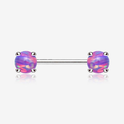 A Pair of Fire Opal Prong Set Sparkle Nipple Barbell-Purple Opal