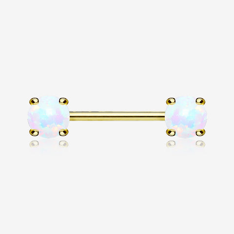 A Pair of Golden Fire Opal Prong Set Sparkle Nipple Barbell-White Opal
