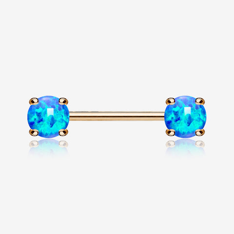 A Pair of Rose Gold Fire Opal Prong Set Sparkle Nipple Barbell-Blue Opal