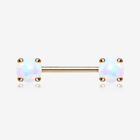 A Pair of Rose Gold Fire Opal Prong Set Sparkle Nipple Barbell-White Opal