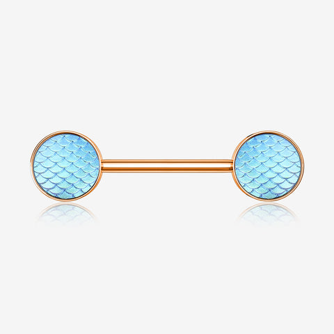 A Pair of Rose Gold Iridescent Mermaid Scale Nipple Barbell-Iridescent Aqua