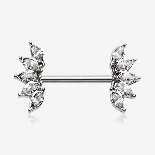 A Pair of Brilliant Marquise Sparkle Floral Nipple Barbell-Clear