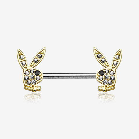 A Pair of Golden Brilliant Multi-Gem Sparkle Playboy Bunny Nipple Barbell-Clear