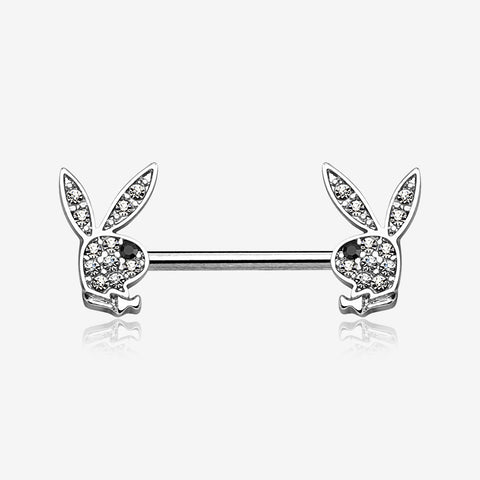 A Pair of Brilliant Multi-Gem Sparkle Playboy Bunny Nipple Barbell-Clear