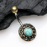 Turquoise Antique Floral Filigree Belly Button Ring