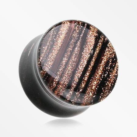 A Pair of Sparkling Shimmer Stripes Glass Double Flared Plug
