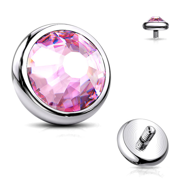 Implant Grade Titanium Internally Threaded Bezel Set Round Gem Part-Pink