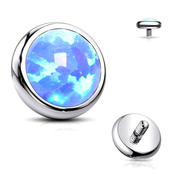 Implant Grade Titanium Internally Threaded Bezel Set Round Fire Opal Part-Blue Opal
