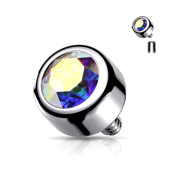 Implant Grade Titanium Internally Threaded Bezel Set Round Swarovski Crystal Part-Aurora Borealis