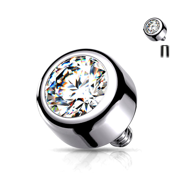 Implant Grade Titanium Internally Threaded Bezel Set Round Swarovski Crystal Part-Clear