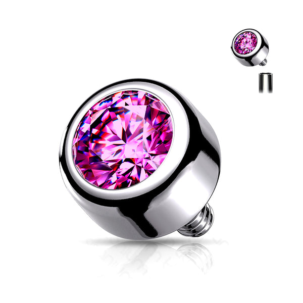 Implant Grade Titanium Internally Threaded Bezel Set Round Swarovski Crystal Part-Pink